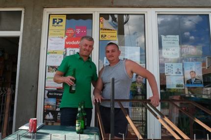 I passed by this shop to buy some food. These guys were customers too. It was friday evening, the weekend started… with a beer for them and a coke for me. They really insisted to have a drink at their expense. Very kind and funny guys. The one on the left worked once in Dublin, so the communication went well in English #Romania