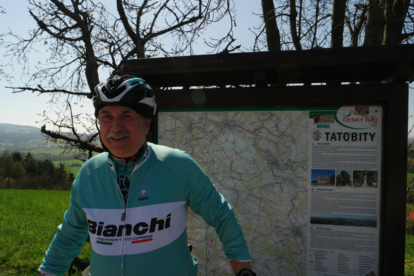 Bianchi man, assorted with his road bike, stopped over when he saw me standing in front of this information placard. An hour later we were still there ;-) #CzechRepublic
