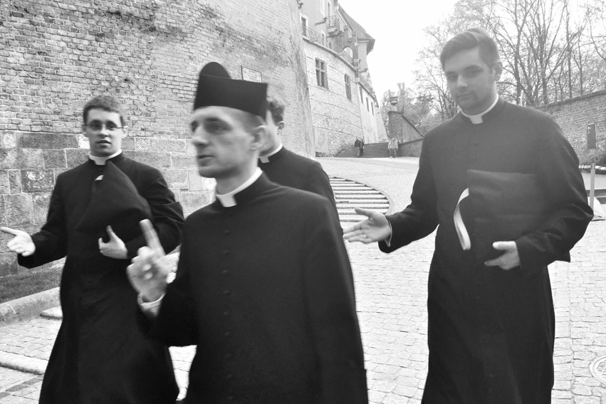 Sign language, speaking and hearing, Three things at once, you would think they're women. Priests from Wawel #Krakow #Poland