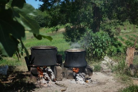 Bulgur is boiling in two big pots #NarköyOrganicFarm #Kerpe #Turkey