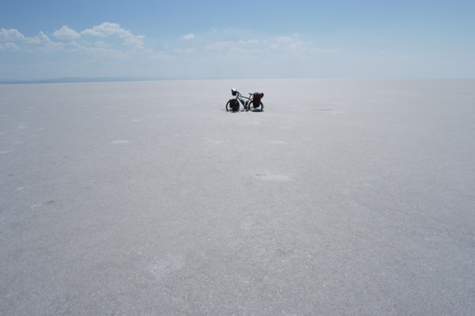 My bicycle got completely stuck in the salt. No kickstand needed #TuzGölü #Turkey