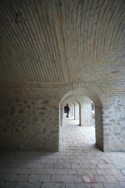 Walking in the caravanserai of Sheki. A caravanserai was a roadside inn where travelers could rest and recover from the day's journey #Azerbaijan