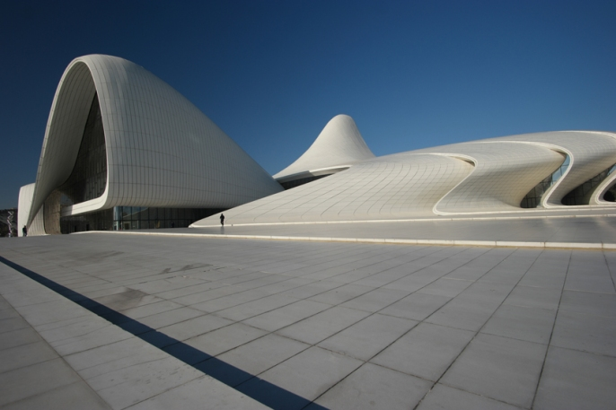 The impressive Heydar Aliyev Center is a cultural centre in Baku. It's designed by Zaha Hadid. The center is named after Heydar Aliyev, the leader of Soviet-era Azerbaijan from 1969 to 1982, and president of Azerbaijan from October 1993 to October 2003 #Azerbaijan