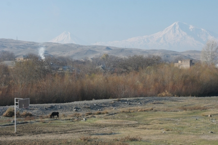 In real he's enormously impressive. Mount Ararat, the snow-capped and dormant compound volcano. Next to him, his little brother #Armenia