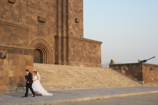 Wedding shoot at the foot of the Mother of Armenia statue #Armenia