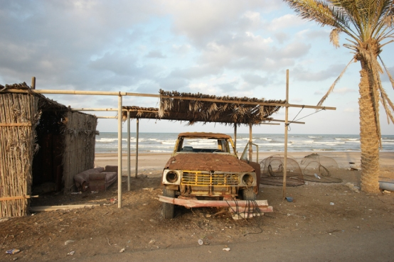Some scrap on four wheels was used to ride into the sea, to pull and push fishing boats #Oman