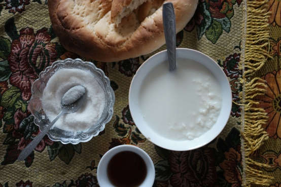 Rice milk, bread and 'chai' (tea), a typical breakfast offered in the Pamirs #tajikistan
